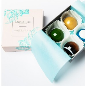Cutie cu 4 Praline Asortate de Ciocolată – Maximilian Chocolat